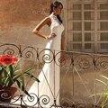 Вечернее Платье 2017 Длинное Вечернее Платье Фуксия Длинное Белое Платье Высокий Воротник Пром Платье Белого Аппликация Платье Выпускного Вечера