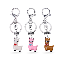LUXSHINE 3 Pcs/lot BFF Llama Whale Unicorn Keychain for Girls Cute Best Friends Forever Key Ring Wholesale Party Gift Jewellery