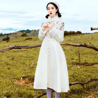 2018 Autumn Winter Women Chinese Retro Woolen Coat Floral Embroidery Long Padded Wool Jacket Loose Fur Collar A Line Winter Coat