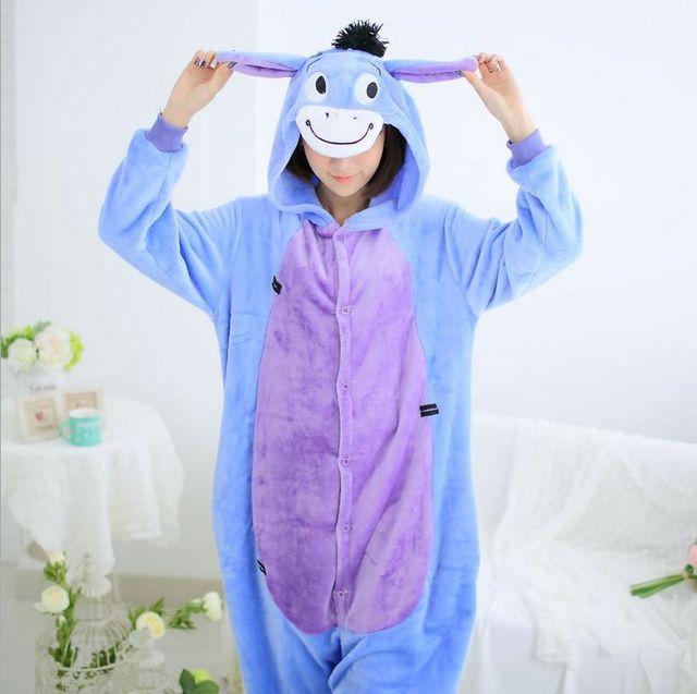 Adulto Unisex Pijama Adulto Pijama Pijama Femme burro Cabelo Conjuntos de Pijama Mulheres Sleepwear Pijama Completo Manga Com Capuz Poliéster