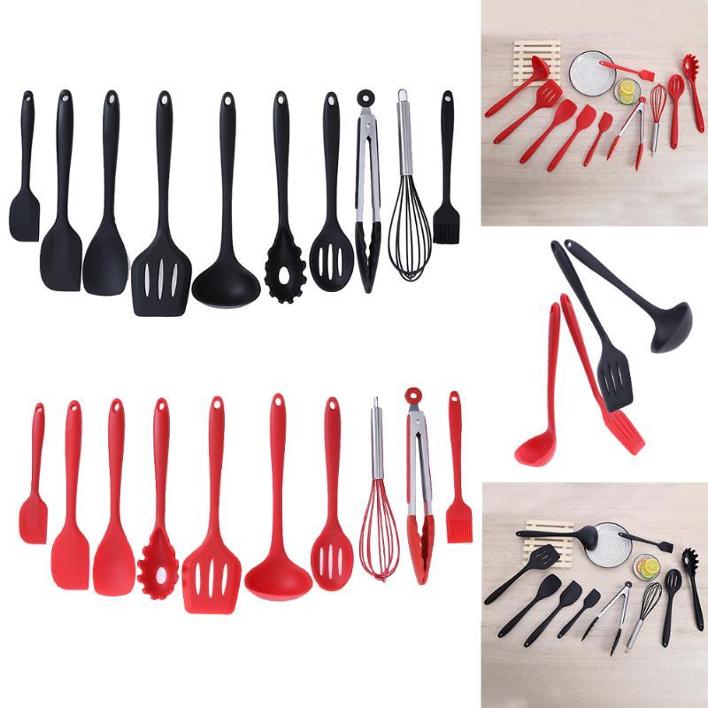 10 unids/set juego de utensilios de cocina antiadherentes de silicona para hornear utensilios de cocina domésticos utensilios de cocina Gadgets rojo/negro