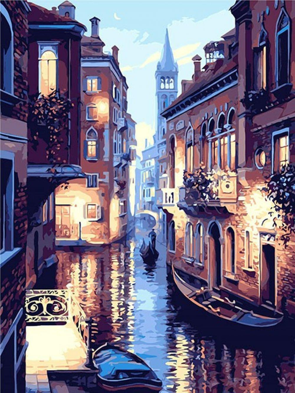 Frameless Venice Night Landscape DIY Digital Oil Painting By Numbers Europe Abstract Canvas Painting For Living Room Wall Art