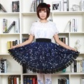 Kawaii Mori Girl Short Skirt Sweet Navy Blue Starry Night Printed Lolita Skirt for Women