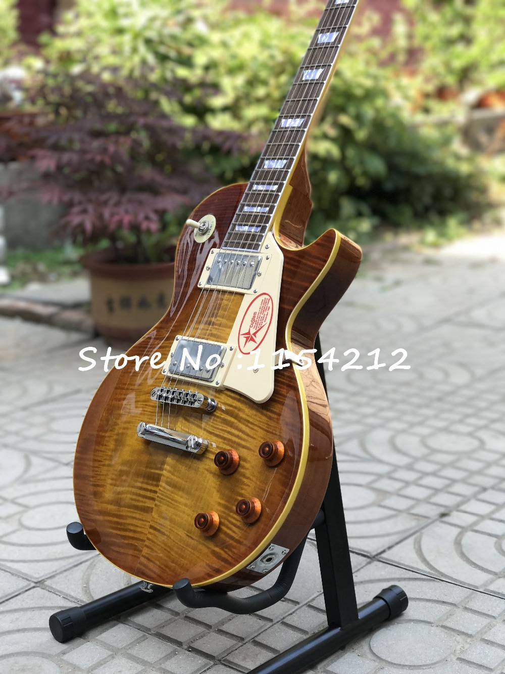 Hot lp guitar Custom shop 1959 R9 les Tiger striped maple cover LP Standard electric guitar Free shipping in stock new 1959 r9 les tiger flame paul electric guitar standard lp 59 standard in stock ems fast shipping vintage sunburst terry burst