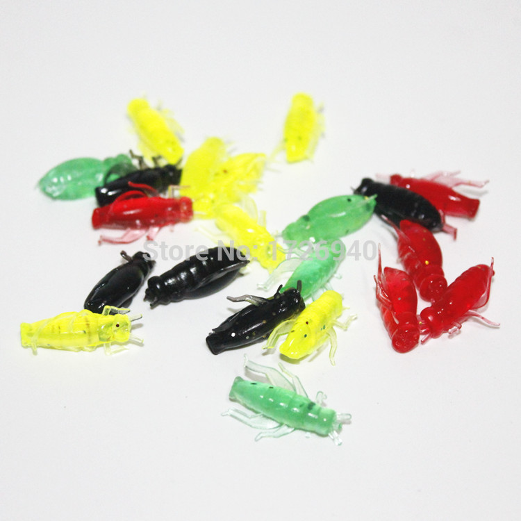 50Pcs 0.8g 2cm Soft Fishing Lures Pesca Lightweight Cricket Insect Lure Simulation Baits Soft bait