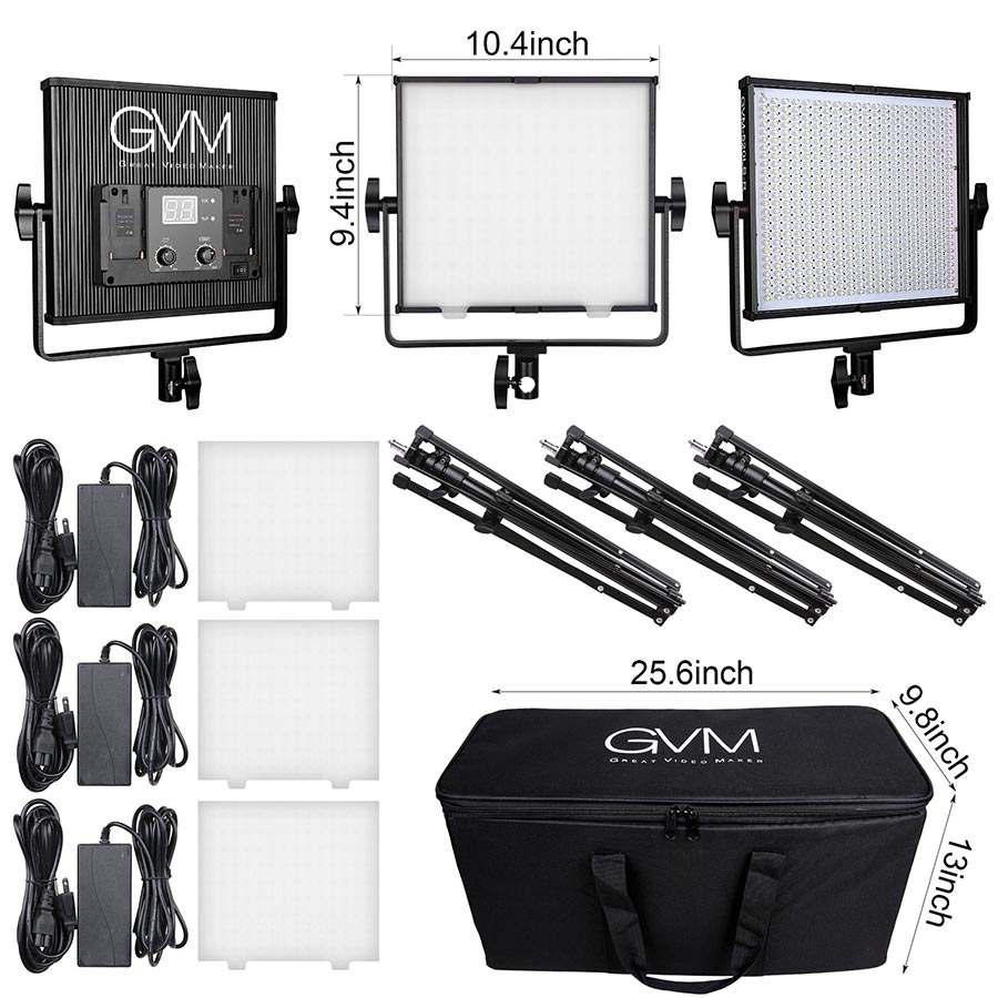 GVM LED Video Light with Stand Kit 520 Dimmable LED Camera Photo Light Panel for Photography Studio Video 3 Light Kits 2018 yongnuo yn320 photo studio led panel video light with stand holder high brightness video light for canon nikon dslr camera