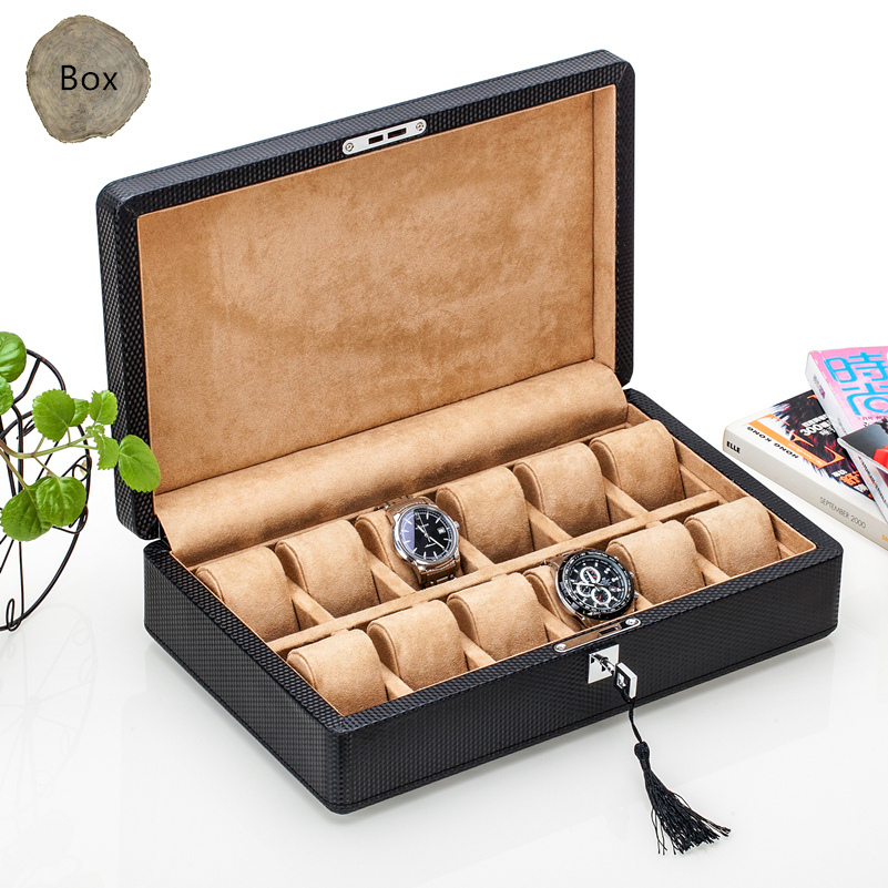 Top 12 Slots Carbon Fiber Leather Watch Box Fashion Black PU Storage With Lock And Display Gift Case