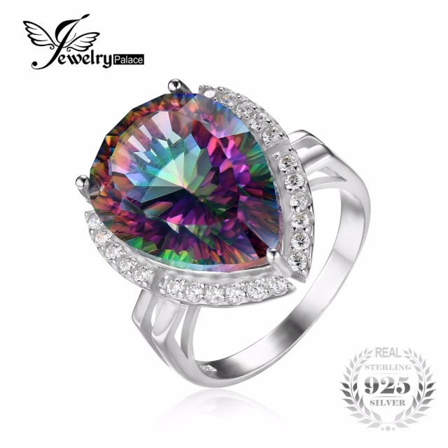 JewelryPalace 13ct Genuine Rainbow Fire Mystic Topazs Ring Gem Stone 925 Sterling Silver Ring Brand New Engagement For Women