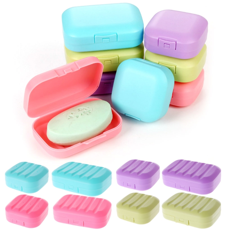 Square Mini Soap Box Bathroom Dish Plate Case Home Shower Travel Holder Container Cute