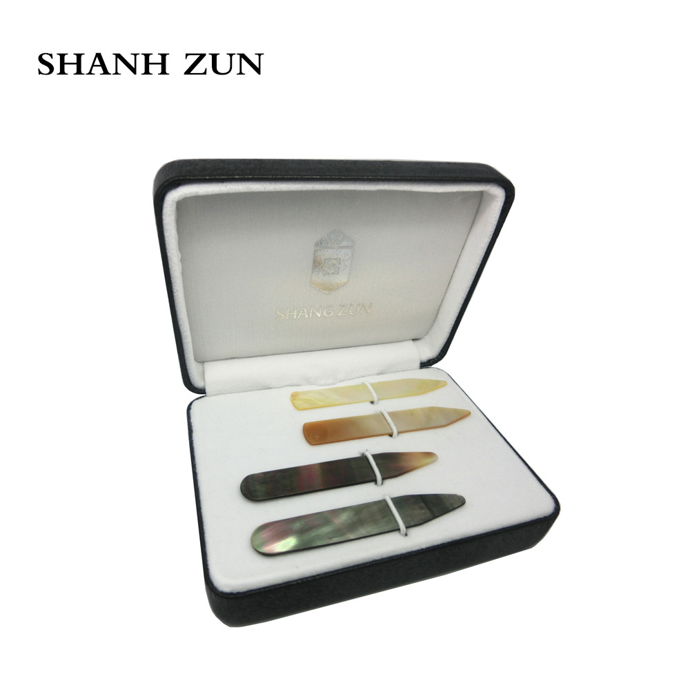 """SHANH ZUN High Polish Pure Mother of Pearl Shell Collar Stays Wedding Gift for Men 2.37"""""""