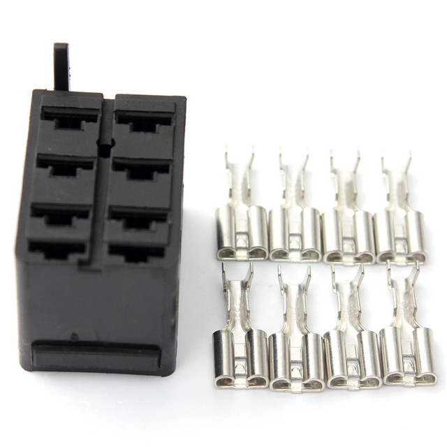 8pcs Female Spade Wiring Connector Socket Plug Terminals & Rocker ...