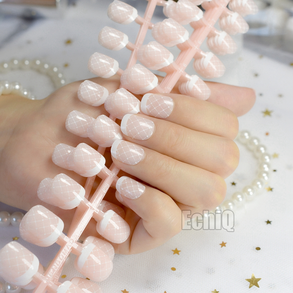 240pcs Full Cover French Nails Natural Short Size Round Artificial Press On Nail Lady Finger Tips Manicure Tool Wholesale N208