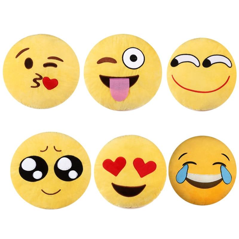 Cute Emoji Smiley Yellow Pillows Cushion Cartoon Facial QQ