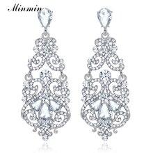 Minmin Fashion Large Floral Silver Color Teardrop Crystal Long Drop Earrings Rhinestone Big Earrings Wedding Jewelry 2019 EH373