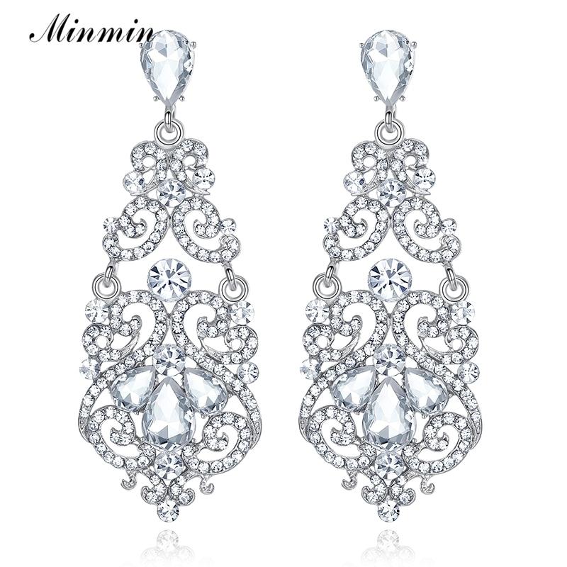 Minmin Fashion grote bloemen zilver kleur Teardrop Crystal lange oorbellen Rhinestone grote oorbellen bruiloft sieraden 2019 EH373
