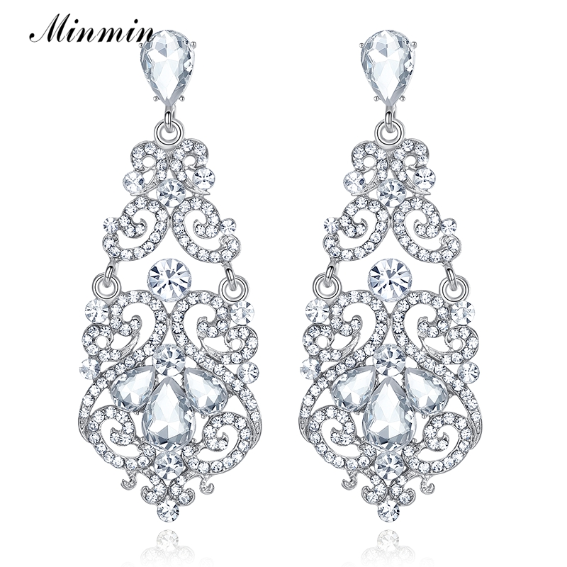 Minmin Large Floral Silver-color Teardrop Crystal Long Drop Earrings Rhinestone Big Earrings Female Wedding Jewelry EH373 floral rhinestone teardrop earrings