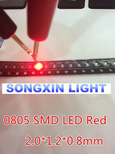 100pcs LEDs SMD 0805 Red Diodes SMD LED 0805 SMD Diode 2.0*1.2*0.8mm 0805 smd led Red  light-emitting diode 620-625nm