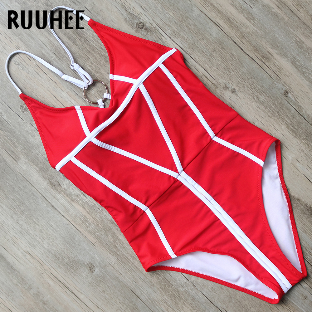 Buy RUUHEE One Piece Swimsuit Swimwear Women Bodysuit Sexy High Cut Bathing Suit Monokini V-Neck Swimming Suit Beachwear 2018 Bikini