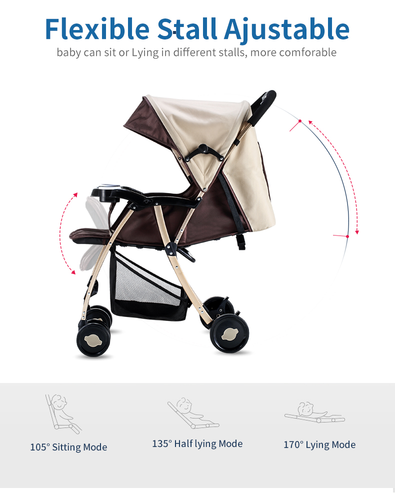 GL Baby Stroller Folding Umbrella Sit and Lie Portable Strong Alloy Steel Material 4