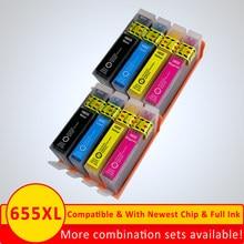 Xiangyu 8 шт./лот совместимый с HP655 для HP 655 BK C M Y чернильный картридж с чипом для HP 3525 4615 4625 5525 6520 6525 6625