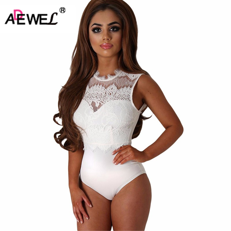 ADEWEL 2019  Bodysuit Women Black Lace High Neck Cut Out Back Bodycon Jumpsuits Romper Combinaison Shorts Playsuits
