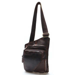 Image 4 - New High Quality Vintage Casual Crazy Horse Leather Genuine Cowhide Men Chest Bag Small Messenger Bags For Man  Shoulder Bags