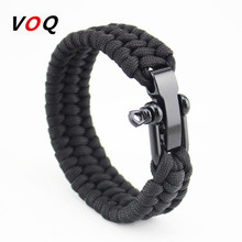Outdoor Camping Paracord Bracelet Survival Emergency Braided Rope Men Black Stainless Steel Adjustable Buckle Pulseras