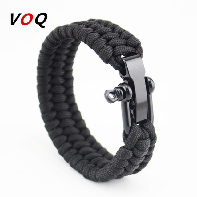 Outdoor Camping Paracord Bracelet Survival Emergency Braided Rope Men Black Stainless Steel Adjule Buckle Pulseras