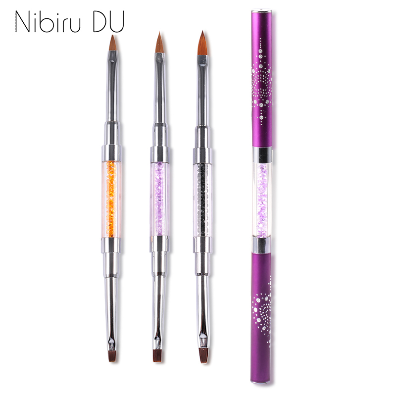 Dual-ended Acrylic Gel Brush UV Gel Drawing Brushes With Cap Acrylic Rhinestone Handle Manicure Nail Art Tool Decoration