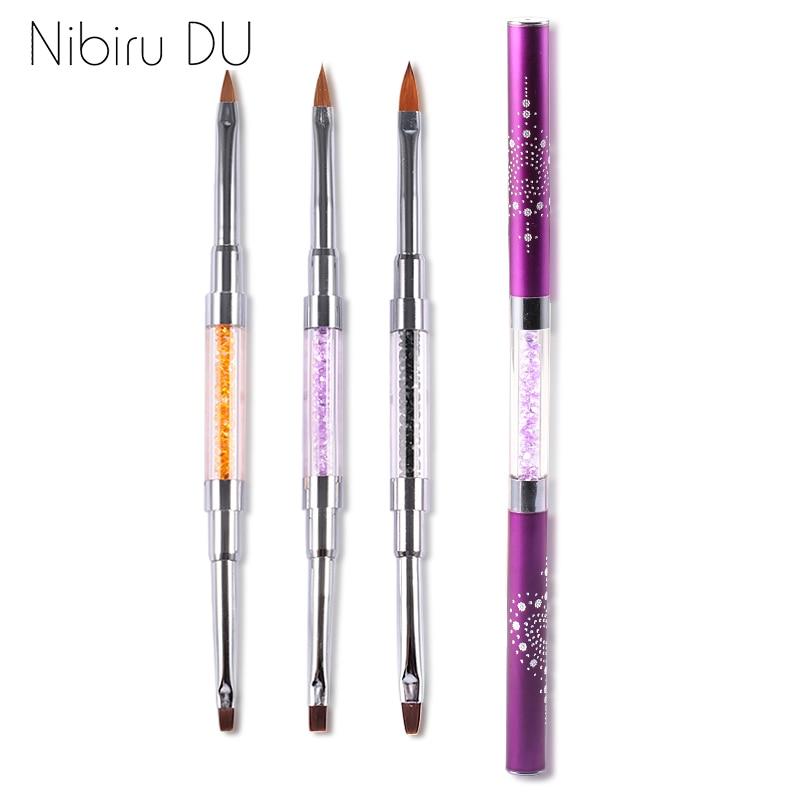 Dual-ended Acrylic Gel Brush UV Gel Drawing Brushes With Cap Acrylic Rhinestone Handle Manicure Nail Art Tool Decoration