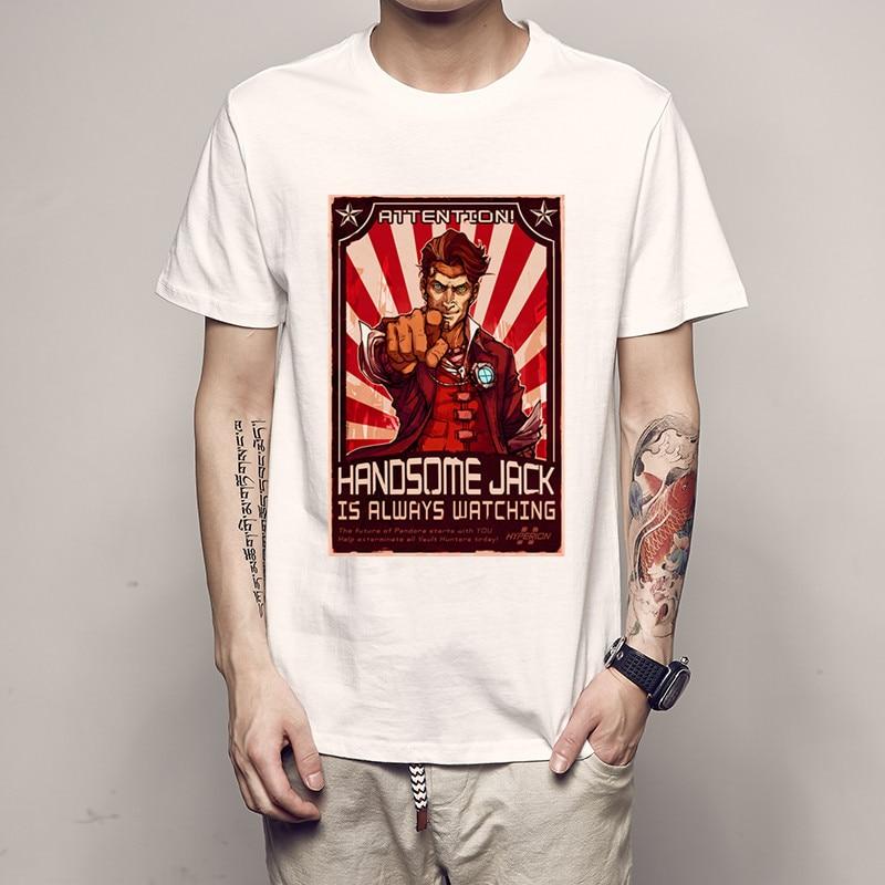 Summer Fashion Men Tshirt Print 3D Brand 2018 Designer Inverted Borderlands T Shirt Summer Slim Mens Short Sleeve Cotton T-shirt