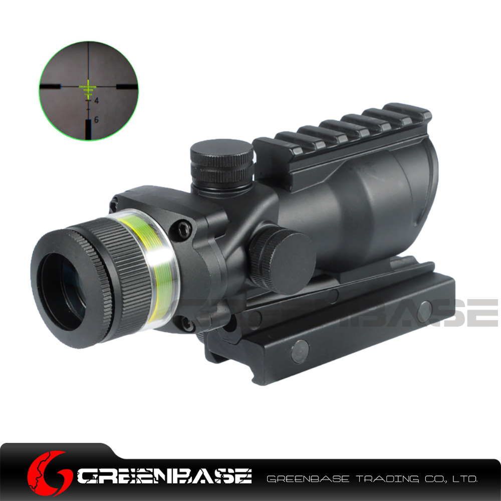 цены Greenbase Tactical Acog Style 4x32 Rifle Scope Yellow/Green Illumination Source Optic Real Fiber Up to5.56/.223 Hunting shooting
