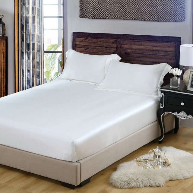 d41fb511a23 US $137.8 32% OFF|Pure White 100% Moerbei Zijde Hoeslakens Sets 3 stks/set  koning koningin twin multicolor zijde beddengoed in Pure White 100% Moerbei  ...