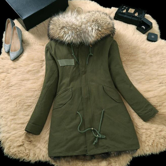 2016 Large Size Winter parka Women Fur Jackets Slim Thick Plus Size Real Raccoon Fur Hooded Coats Fox Fur Lining Green Jacket