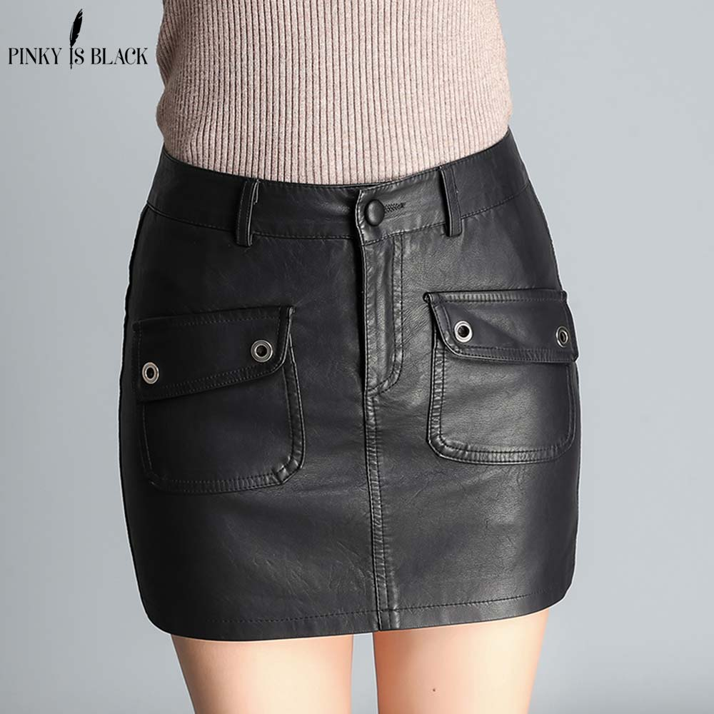 PinkyIsBlack 2018 Hot Selling Sexy Women PU Leather Mini Skirts Pockets Style High Waist Black Pencil Skirts Clothes For Ladies