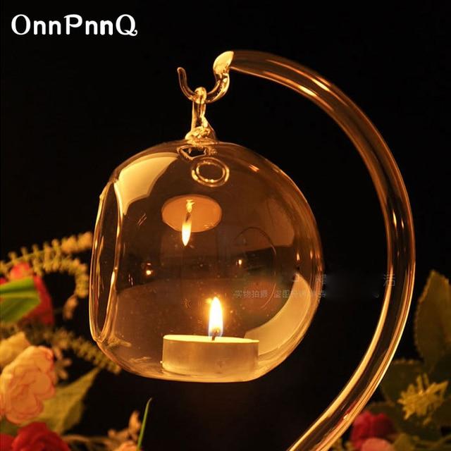 Onnpnnq Hanging Gl Candle Holder Wedding Centerpieces Lantern Votive Birthday Party Crystal Decor