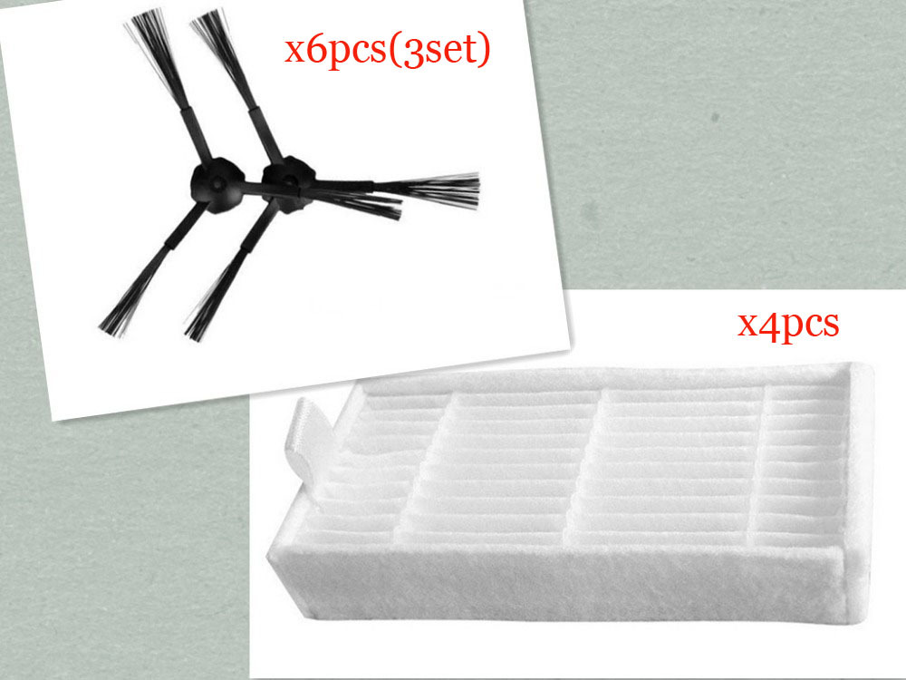 Vacuum Cleaner Accessories Pack for panda x500  ECOVACS CR120 X600 Side Brush X 6pcs (3set)+ hepa Filter X4pcs ntnt free post new robot vacuum cleaner accessories pack for x500 x600 cr120 side brush x 10pcs 5set hepa filter x3pcs