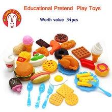 34 pcs das Crianças Brinquedos de Cozinha de Corte De Frutas De Plástico Vegetal Alimento Bebida Kit Kat Pretend Play Toy Educação Para crianças