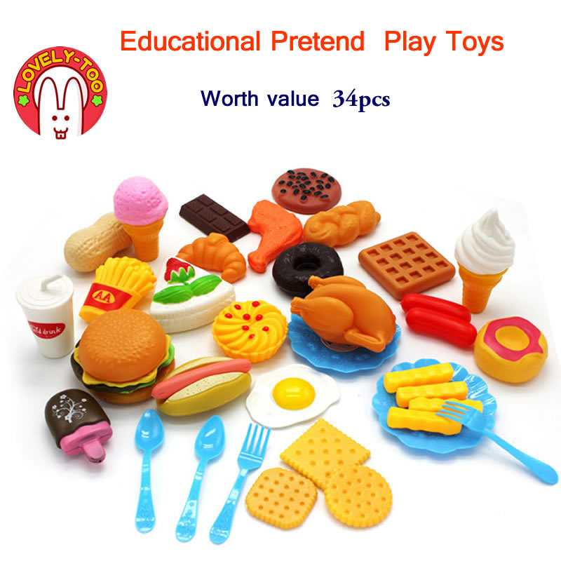 34pcs Childrens Kitchen Toys Cutting Fruit Vegetable Plastic Drink Food Kit Kat Pretend  ...