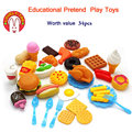 34pcs Children's Kitchen Toys Cutting Fruit Vegetable Plastic Drink Food Kit Kat Pretend Play Early Education Toy For kids
