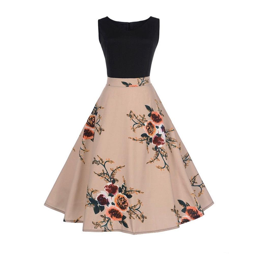 Fashion Summer Dresses  Women Retro Floral Print 50s 60s Vintage Dress Sleeveless Elegant Party Dresses Sundress Vestidos