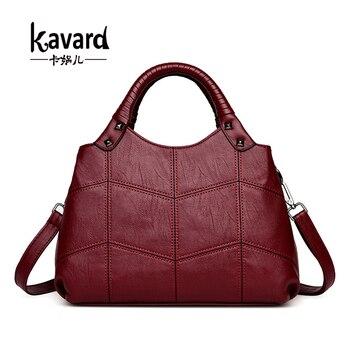 Kavard Women Tote Bag Thread Top-mark táskák Kézitáskák Női Híres márkák női Stitching Alkalmi női Messenger Bag Totes Sac táska