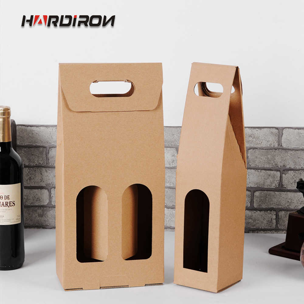 HARDIRON 10PCS Single and Double Red Wine Portable Box Beverage Gift Window Kraft Paper Box