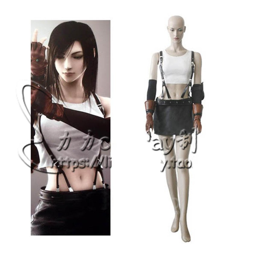 Game Final Fantasy VII Remake FF7 Tifa Lockhart Cosplay Costume Outfit Adult Custom Size