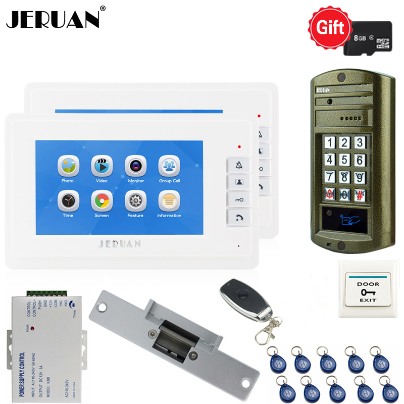 JERUAN Video Door Phone Voice/Video Recording Intercom System kit With 7`` Monitors+ Waterproof password Access Mini Camera 1V2 jeruan 7 lcd video doorbell voice video recording intercom system kit 2 monitors waterproof password access mini camera 1v2