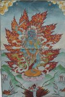 Ancient Chinese golden silk embroidery thangka Buddha exorcist