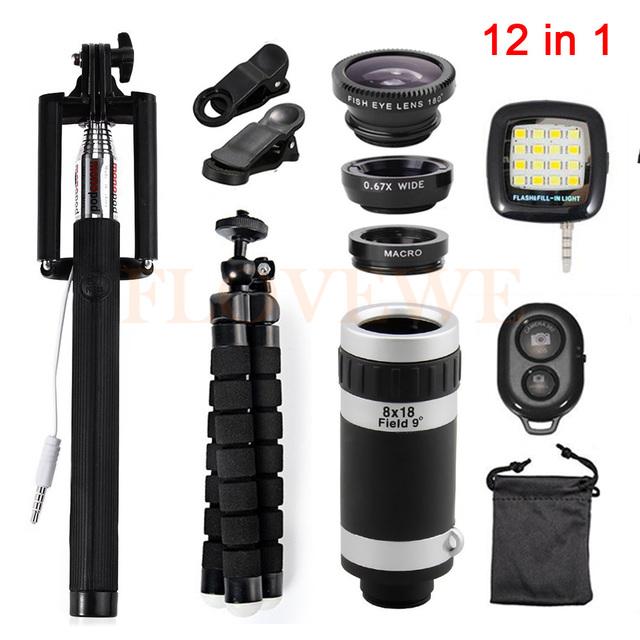 2017 New 12in1 Kit lente Olho de Peixe Grande Angular Macro Lentes Móvel 8x de zoom telefoto lentes para clipes de telefone celular tripé selfie flash