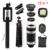 2017 Nueva 12in1 Kit de Lentes de ojo de Pez de Gran Angular Macro lente Móvil 8x de zoom teleobjetivo lentes para trípode teléfono celular clips selfie flash