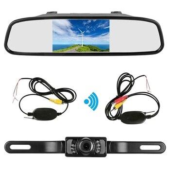 4.3 Cal Tft Lcd samochodu lustro Monitor bezprzewodowy do tyłu widok z tyłu samochodu kamera cofania zestaw (czarny)