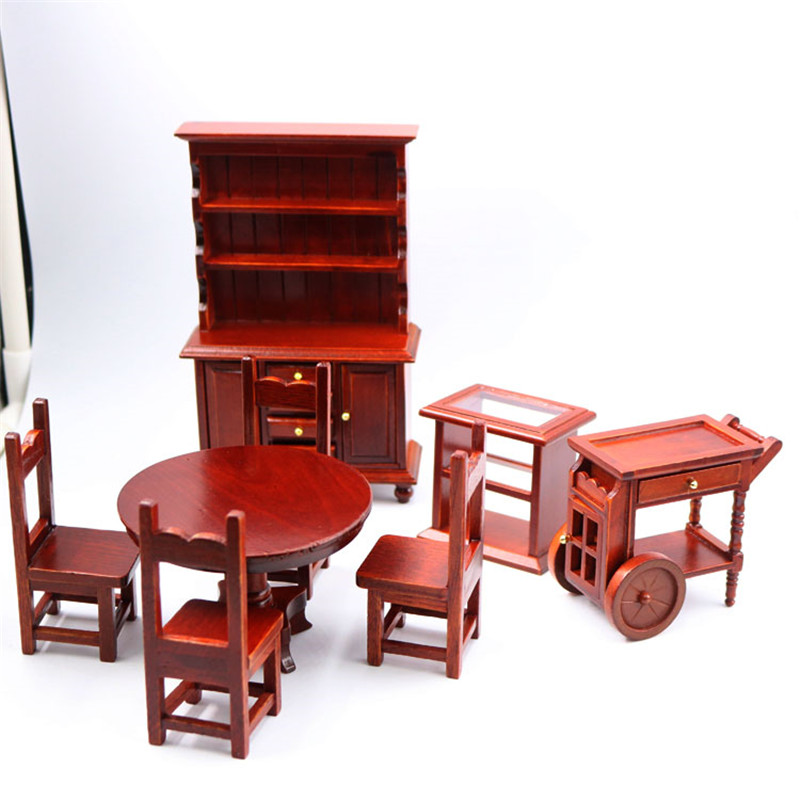 Doub K 1 12 Dollhouse Furniture toy for dolls red Miniature cupboard table chair sets pretend